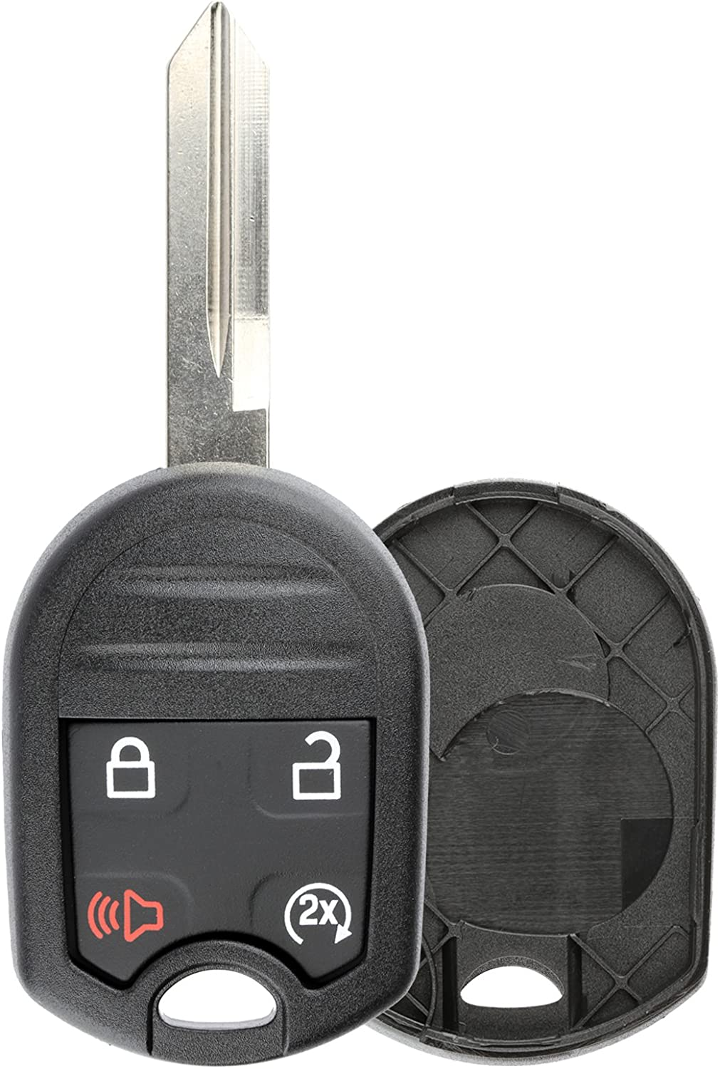 KeylessOption Keyless Entry Remote Uncut Blank Ignition Key Blade Fob Shell Case Cover Buttons for F-150 F-250 Explorer Edge