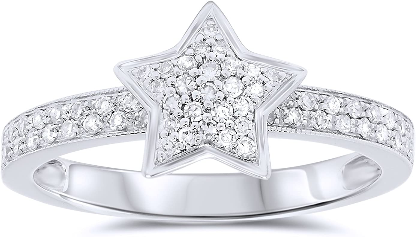 14K Solid White Gold Pave Diamond Shining Star Ring Size 7
