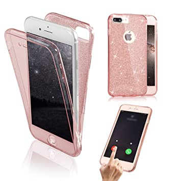 Funda Frontal y Trasera para iPhone 8 Plus / 7 Plus, Vandot Shiny Brillo Suave Funda TPU Doble Capa Dual Layer Full Body Shockproof Protector Carcasa ...