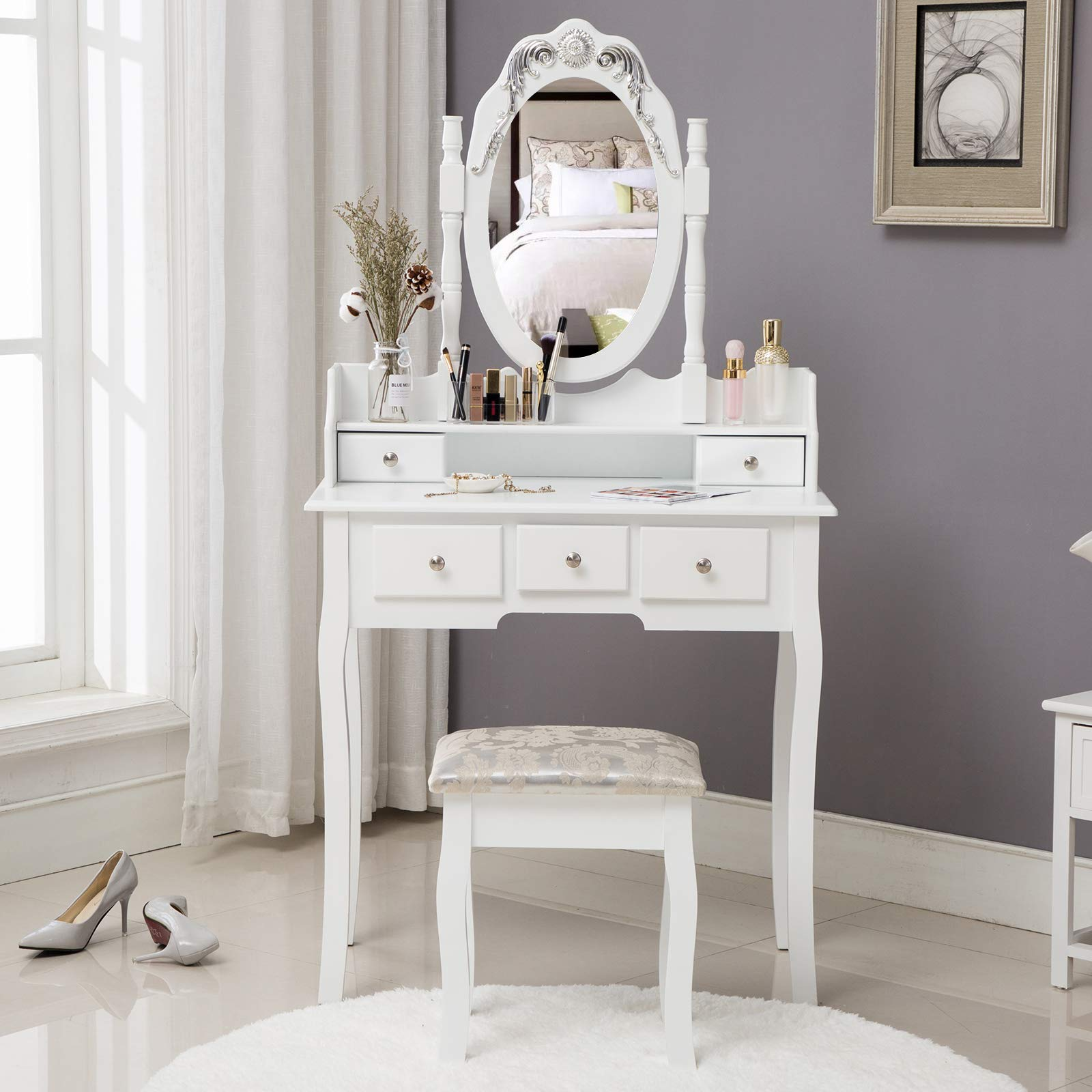 HONBAY Makeup Vanity Table Set and Cushioned Stool, Oval Mirror and Surprise Gift Makeup Organizer 5 Drawers Dressing Table White