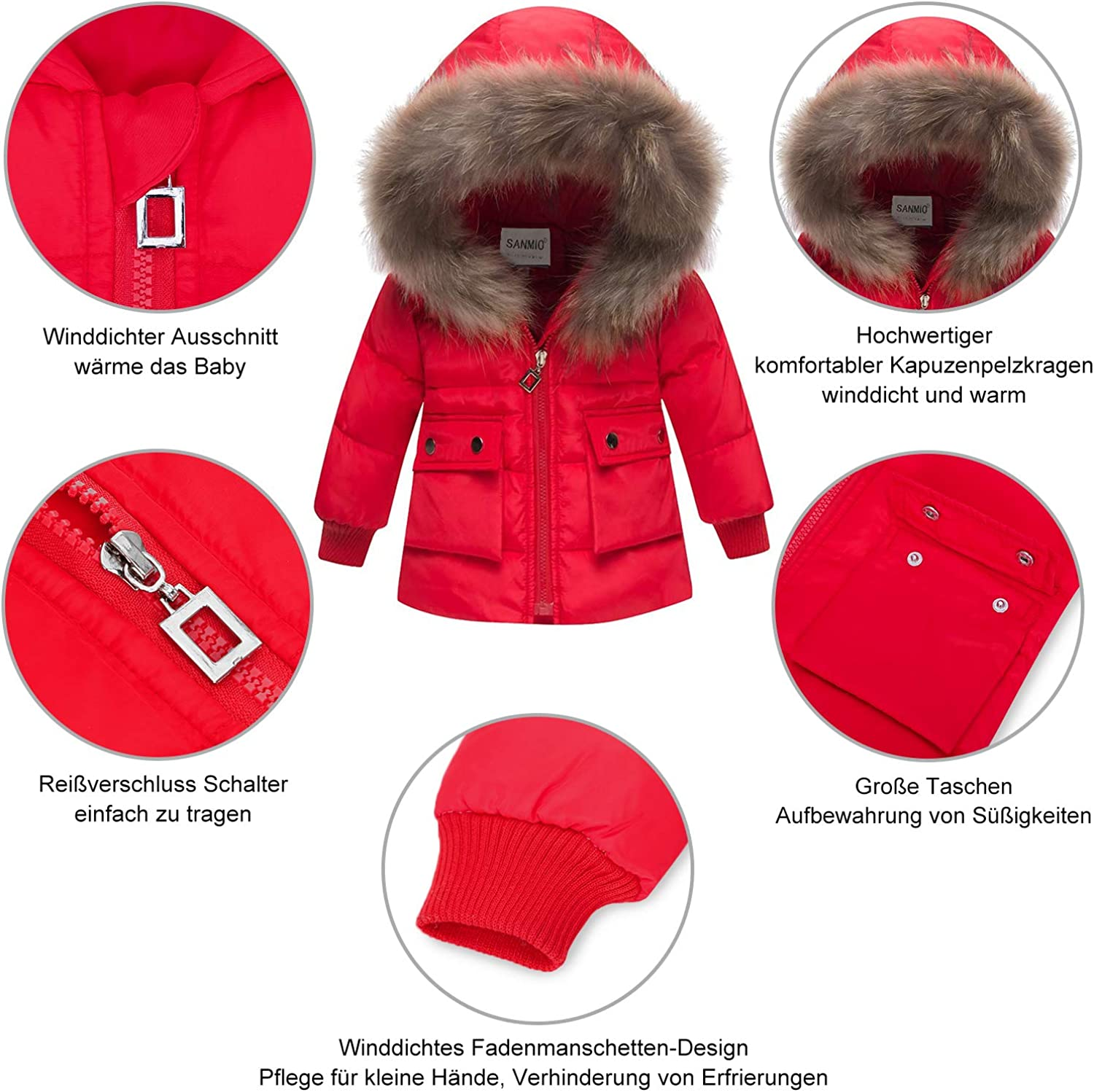 Winter Trousers Toddler Down Pants Kids Ski Suit SANMIO Baby Girls Boys Down Jacket Snowsuit with Artificial Fur Hooded Clothing Set Kids Thickened Winter Jacket