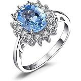 JewelryPalace Principessa Diana William Kate Middleton Diverso Birthstone Halo Anello Fidanzamento Argento Sterling 925