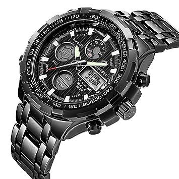 SW Watches Relojes para Hombres,Reloj Digital De Acero Inoxidable De Lujo De La Moda Heavy Sport Cronógrafo Impermeable Fecha Alarma Reloj Analógico ...