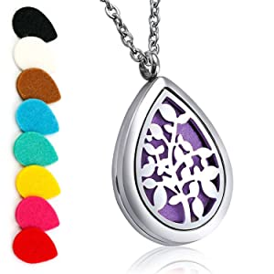 """Aromatherapy Essential Oil Diffuser Necklace Locket Pendant with Stainless Steel 24"""" Adjustable Chain Teardrop Locket Pendant"""
