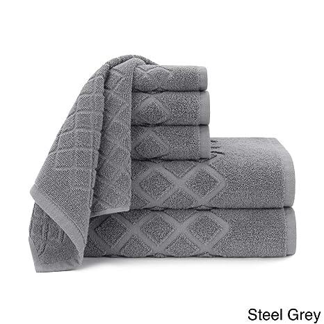 6 pieza gris Jacquard juego de toallas, acero gris Diamante Patrón Tema mano manopla de