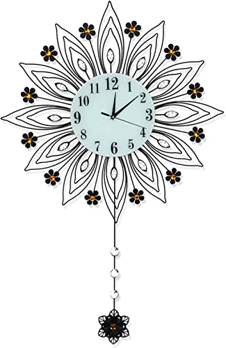 Large Wall Clock Silent Non-Ticking Battery Operated Easy to Read Modern Stylish 3D Metal Decor Quartz Big Clocks Office House Kitchen Living Room Blue Glass Digital Dial Black Arabic Numeral