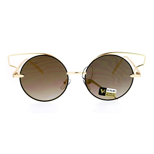 b2908287fc Designer Fashion Metal Wire Horn Rim Round Circle Lens Womens Sunglasses  All Gold