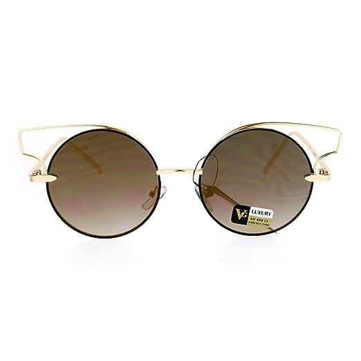 b2908287fc Designer Fashion Metal Wire Horn Rim Round Circle Lens Womens Sunglasses  All Gold