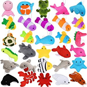 Hamsoo 30 Pack Mini Stuffed Animals Bulk Sea Creatures Toys for Kids Carnival Classroom Prize Box Claw Machine Goody Bags Easter Eggs Fillers Stocking Stuffers Ocean Party Favors Small Plush Keychains