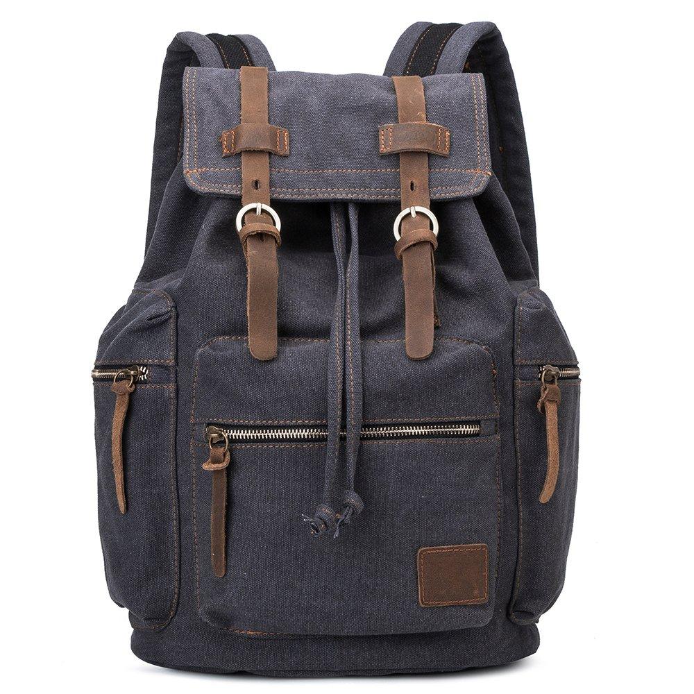 CHAMBEEN Vintage Cotton Canvas Backpack ,Crazy Horse Leather Bookbag - Black (Black)