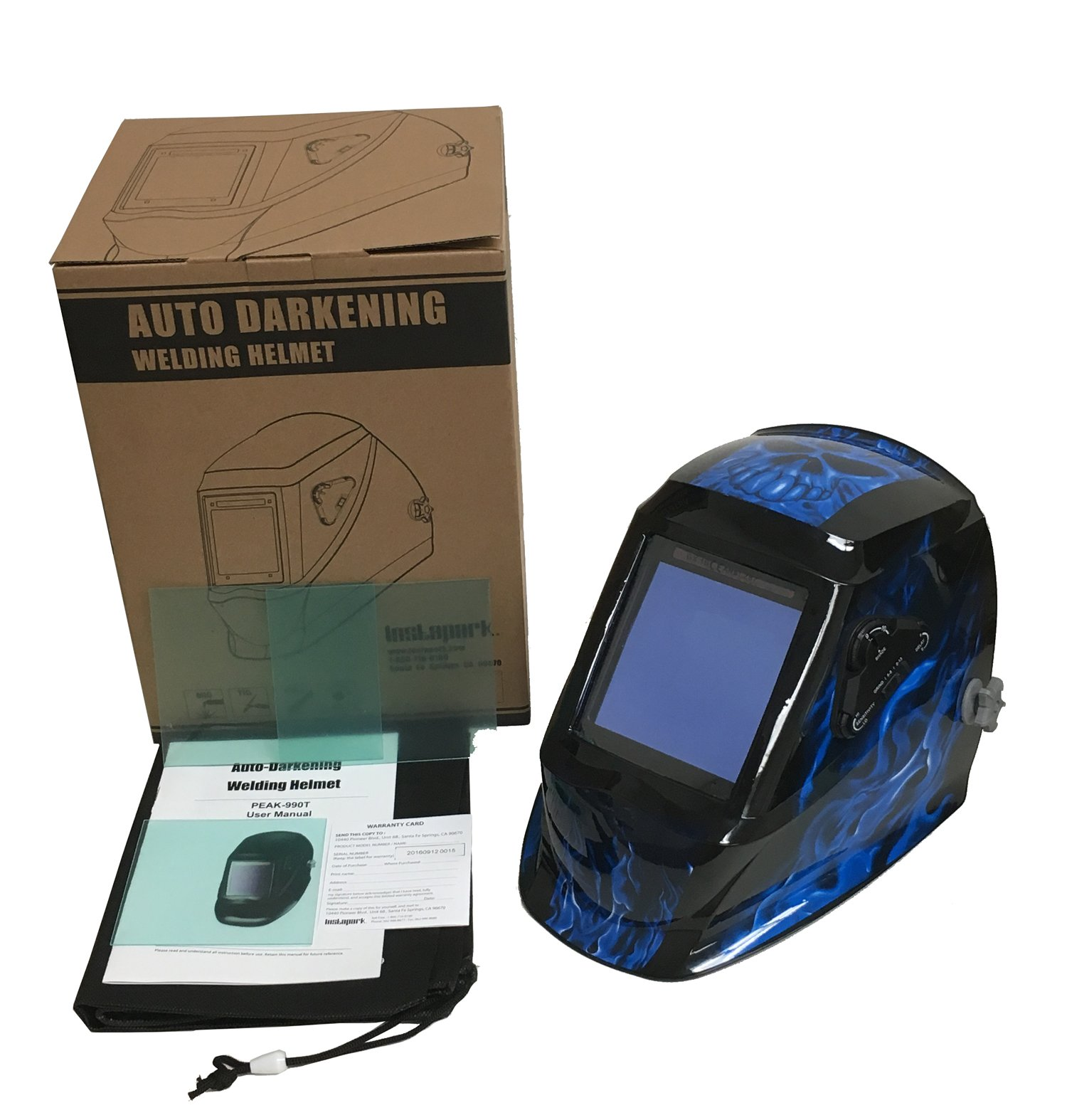 Instapark ADF Series GX990T Solar Powered Auto Darkening Welding Helmet with 4 Optical Sensors, 3.94'' X 3.86'' Viewing Area and Adjustable Shade Range #5 - #13 Bluish Devil by Instapark (Image #5)