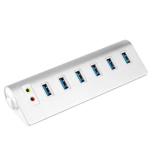 47 opinioni per Cateck USB 3.0 6-Port Hub Combinato con Adattatore Audio Esterno ed Alimentatore