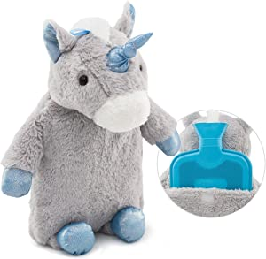 Premium Classic Rubber Hot Water Bottle with Cute Stuffed Plush Unicorn Cover (2L, Gray)