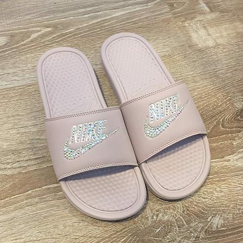 80e75ba0147dce Amazon.com  Swarovski Nike Slides - Nike Slip On Shoes For Women Rose Color  NIKE Benassi JDI Slides with Crystals Custom Nike Bedazzled Slip On Glitter  ...