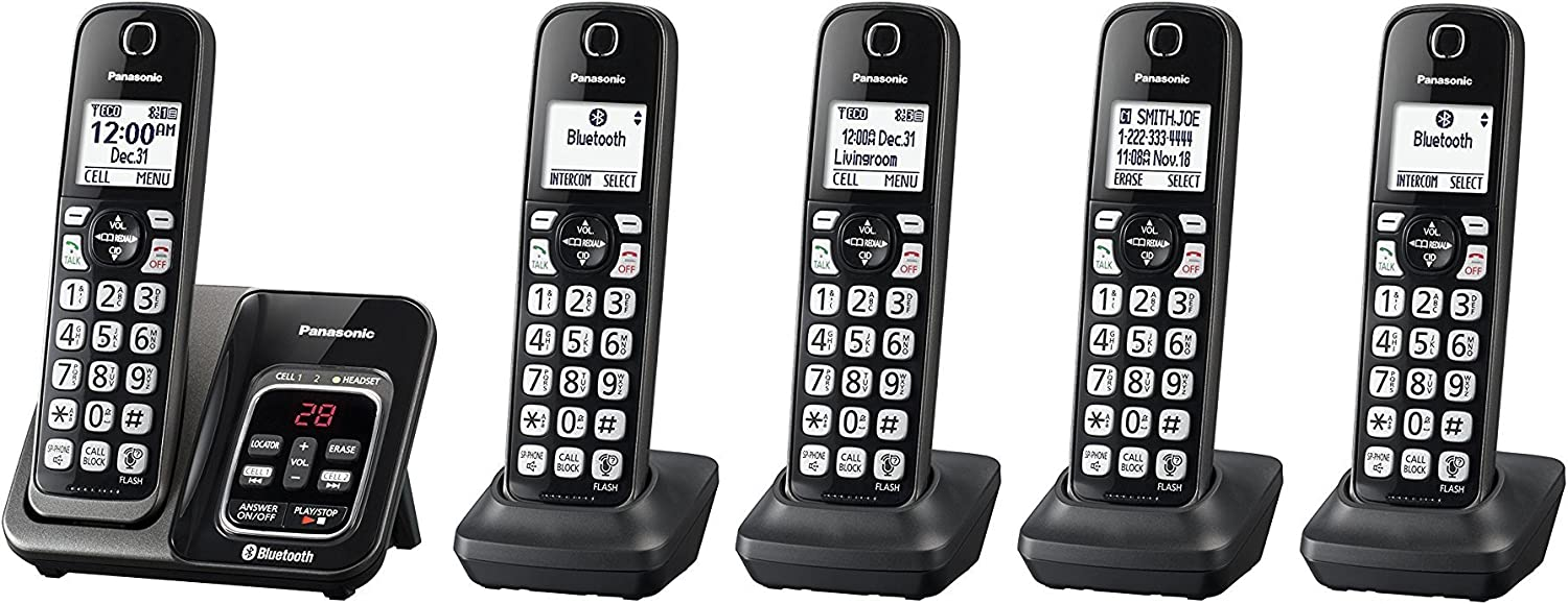 Panasonic KX-TGD564M plus one KX-TGDA51M handset Link2Cell Bluetooth Cordless Phone with Voice Assist and Answering Machine - 5 Handsets (Renewed) (KX-TGD563M +2, KX-TGD562M +3)