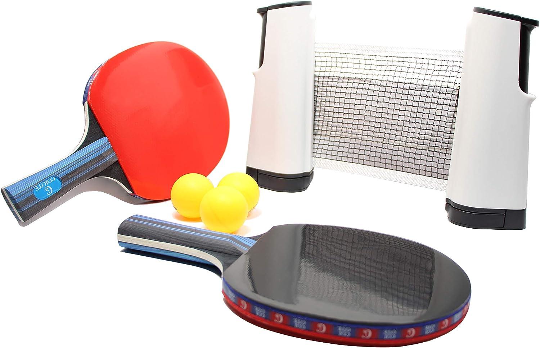 Coiote Ping Pong Juego de Tenis de Mesa, Red de Tenis de Mesa Retráctil, Duradero (con 2 Raquetas, 3 Pelotas, y una Red de Ping Pong) Juego para niños, Adultos, Familias en Interiores y Exteriores