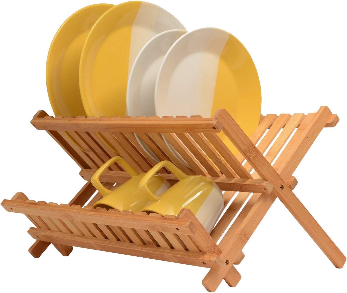buwei Plate Organizer 8 Slots Chrome Plated Dish Racks Countertop Drying Stand