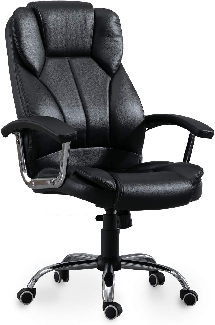 Samincom Office Chair with High Back Large Seat and Tilt Function Executive Swivel Computer Chair PU (Black)