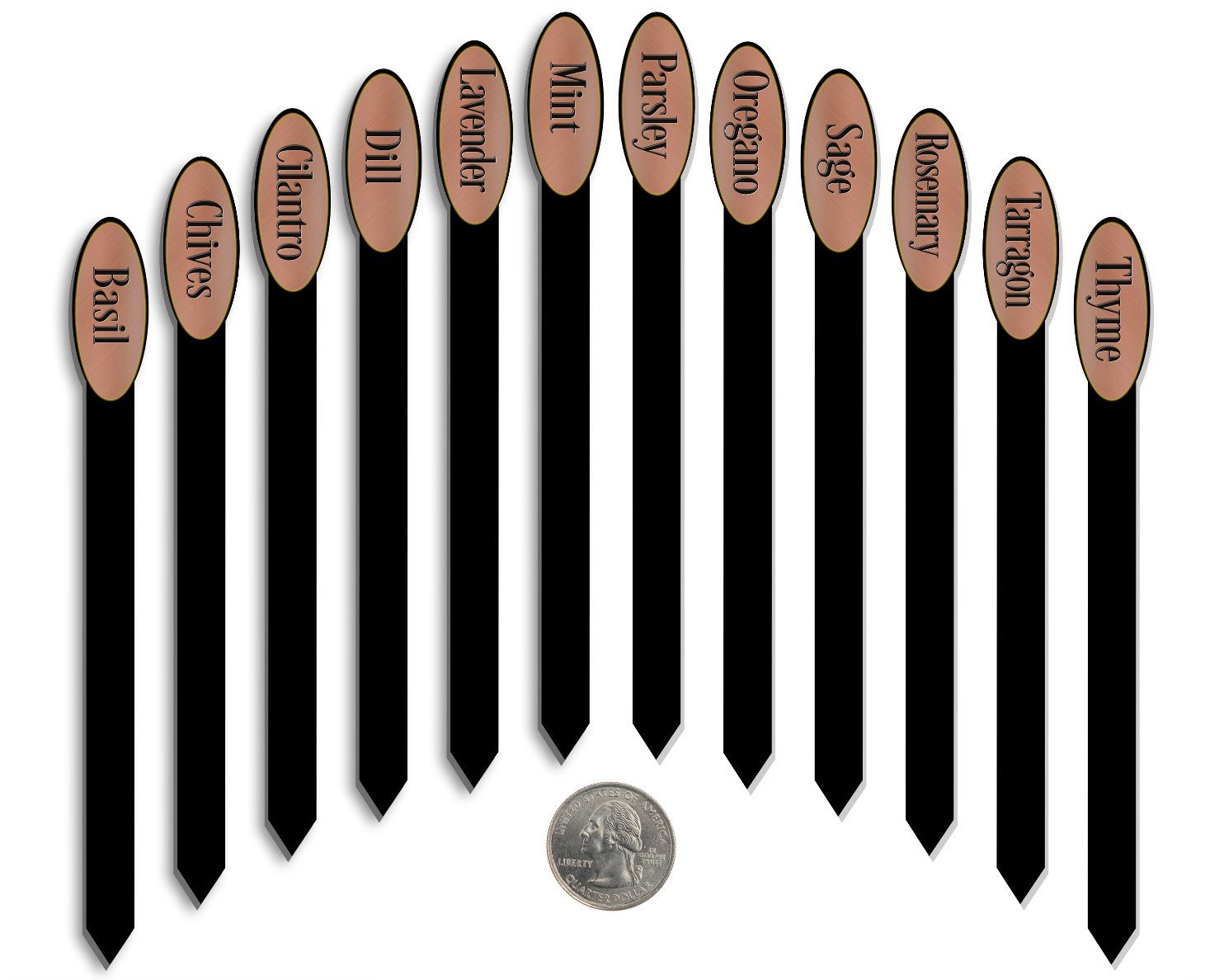 Red Tail Crafters Herb Stakes 06in 12/set Metalgraph Acrylic Oval Top Brushed Copper
