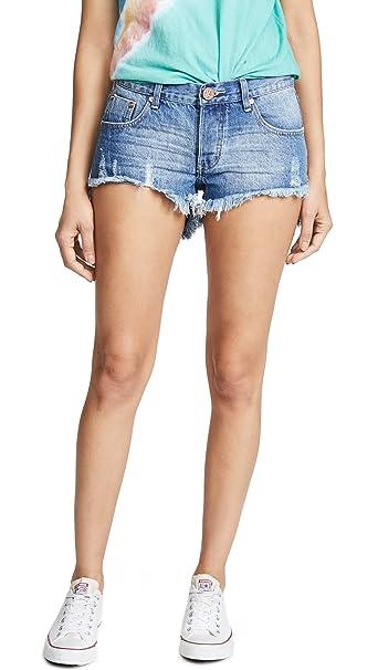 16a1dfc5f3 One Teaspoon Women's Bonita Denim Shorts, Pacifica, 26: Amazon.ca ...