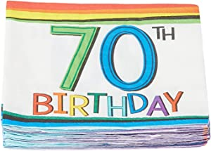 amscan Rainbow 70th Birthday Beverage Napkins Party Supplies, One Size, Multicolor