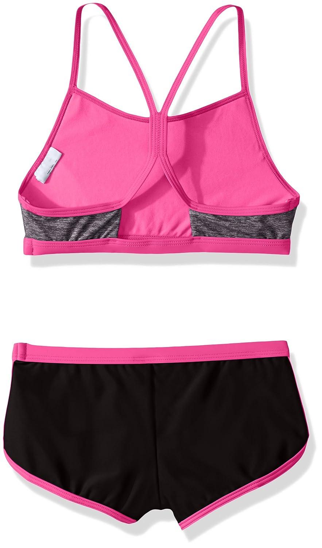 Speedo Girls Heather Splice Boyshort Two Piece Swim Shorts Bikini Set