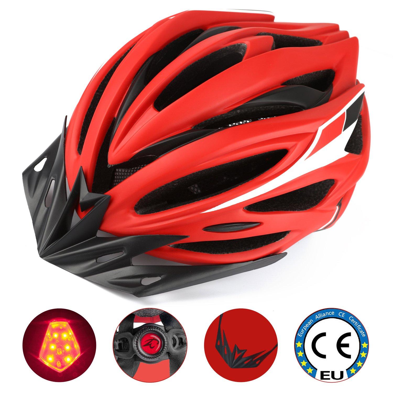 Leadfas Casco Ciclista, Casco de Bicicleta Especializado Ajustable Certificado CE Casco de Seguridad con luz