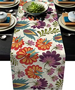IDOWMAT Linen Burlap Table Runner Dresser Scarves 13 x 70 Inch, Colorful Floral Kitchen Table Runners for Farmhouse Dinner, Holiday Parties, Wedding, Events, Decor