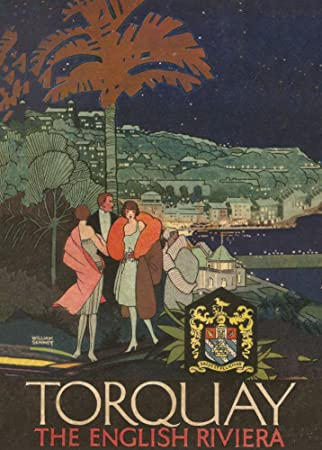 Entertaining torquay railway vintage poster