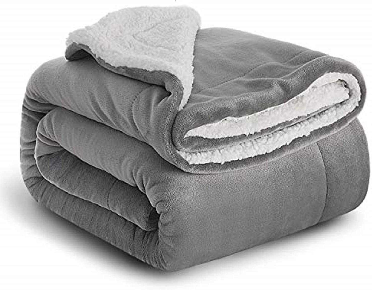 Bedsure Sherpa Blanket Grey Double Twin Size 150 X 200cm Fleece Bed Blankets Warm Fluffy Reversible Microfiber Solid Blankets For Bed And Couch Amazon Co Uk Kitchen Home