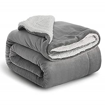 Sherpa Throw Blanket Lt Grey 60x80 Reversible Fuzzy Microfiber All Season Blanket For Bed Or Couch By Bedsure Amazon In Home Kitchen