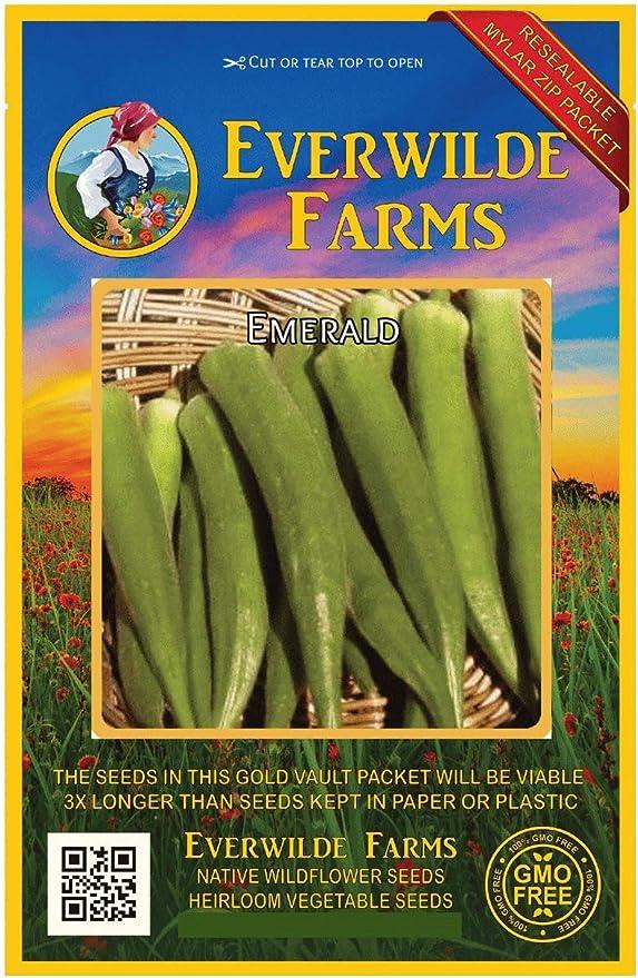 1//4 Lb Emerald Okra Seeds Everwilde Farms Mylar Seed Packet