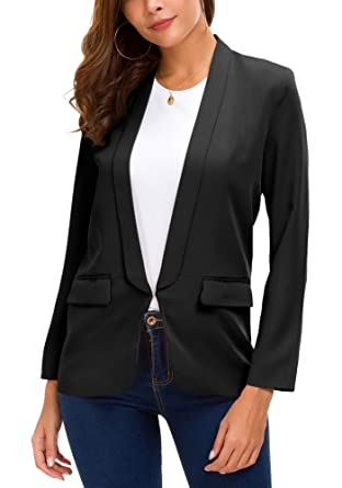 ca17d3f1eaa Women s Business Blazer Office Jacket Open Front Work Suit at Amazon ...