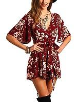 SheIn Women's V Neck Floral Print Tie Waist Short Romper Jumpsuit