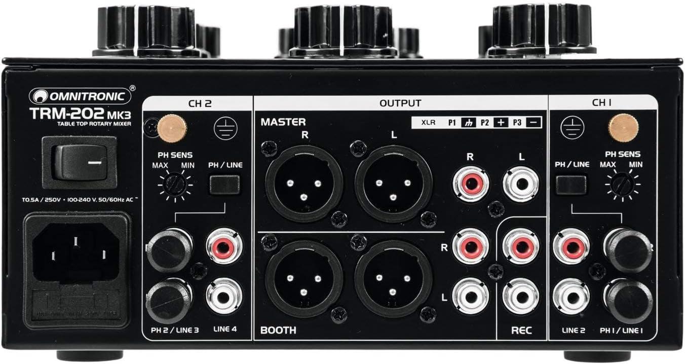 Blue Velvet RK27 Potentiometer Omnitronic TRM-202 MK3 2-Kanal Rotary-Mixer mit 3-Band-Frequenzisolator Effektive Boost- und Kill-Funktion 2-Band-Equalizer und Phono//Line-Umschaltung Gainregler
