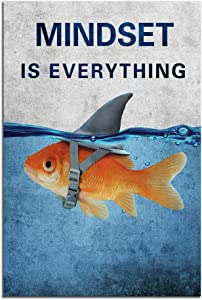 "Yetaryy Motivational Quotes Wall Art Mindset is Everything Inspirational Entrepreneur Canvas Poster Prints Fish Shark Picture Artwork for Bedroom Living Room Home Office Decor Framed - 12"" Hx18 W"
