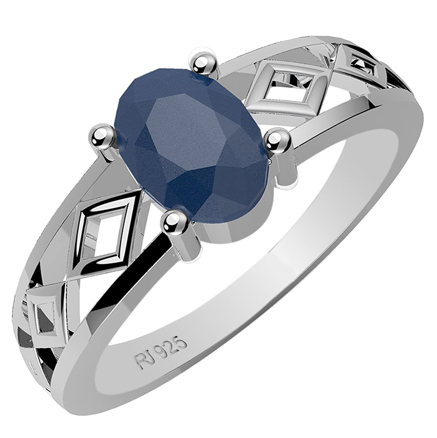0.90ctw,Genuine Sapphire 5x7mm Oval & Solid .925 Sterling Silver Ring (Size-12.5)