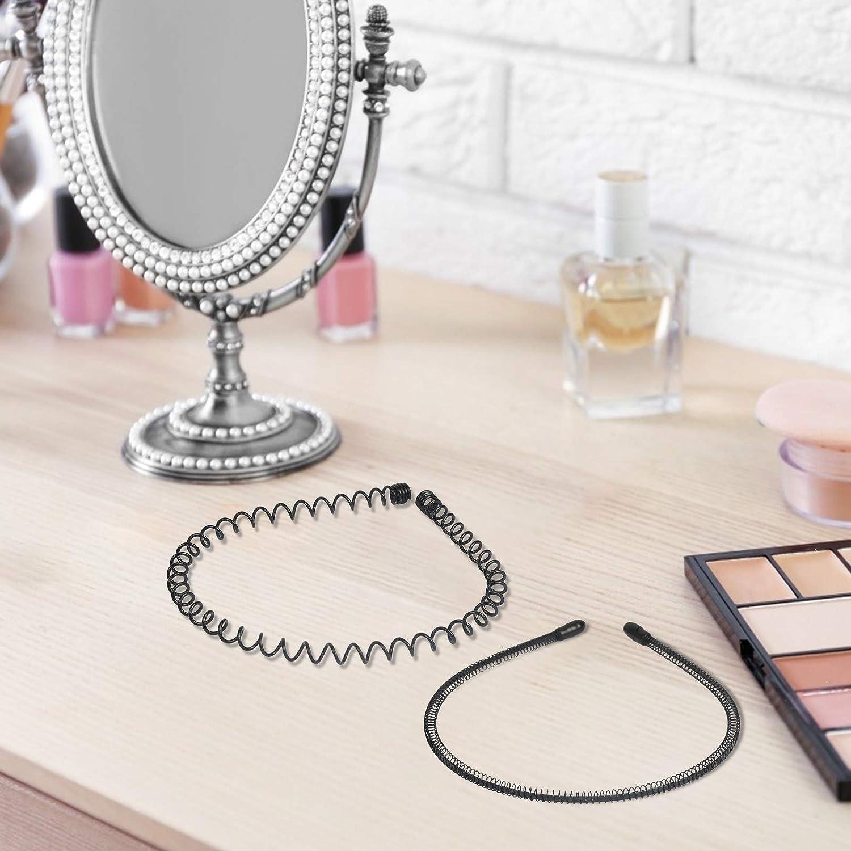 TAZEMAT Bandeau Cheveux Ondul/é 8 PCs Serre-t/ête Unisexe M/étal Multi-Style Accessoire Noir de Bande /à Vague pour Homme Femme Wave Headband Noir Elastique Quotidien Sport