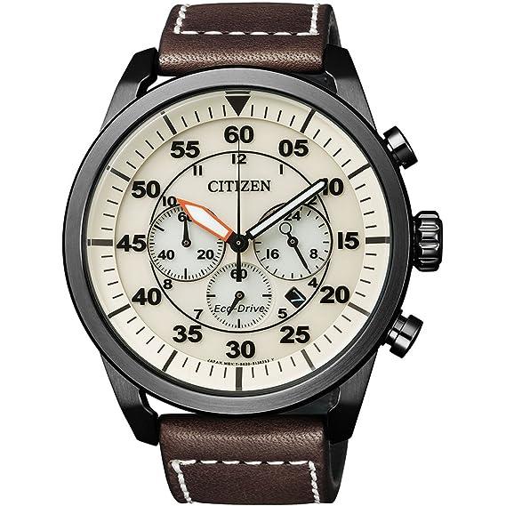 50d42bf573b Citizen – Reloj de Pulsera para Hombre XL Cronógrafo Cuarzo Piel ca4215 –  04 W