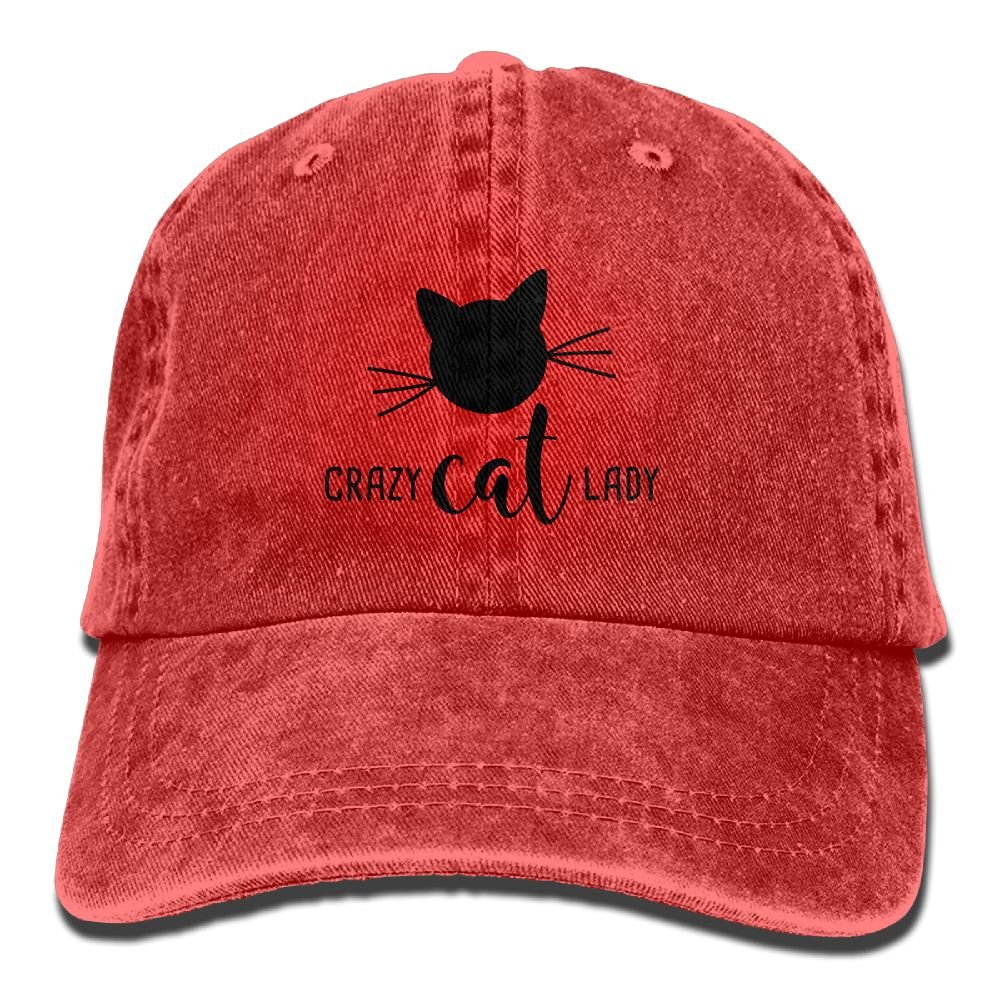 Crazy Cat Lady Plain Adjustable Cowboy Cap Denim Hat for Women and Men