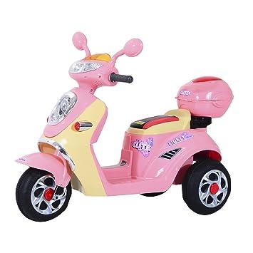 Homcom Coche Triciclo Moto Eléctrica Infantil Correpasillos a Batería Niños 3-8 años Niños 3-8 años 6V Metal + PP 108x51x75cm Rosa: Amazon.es: Juguetes y ...