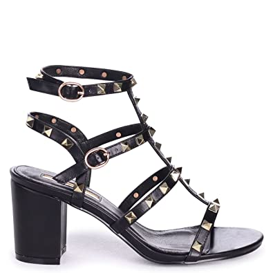 5501ebbc498 Linzi Tessa - Black Studded Block Heeled Sandal  Amazon.co.uk  Shoes   Bags