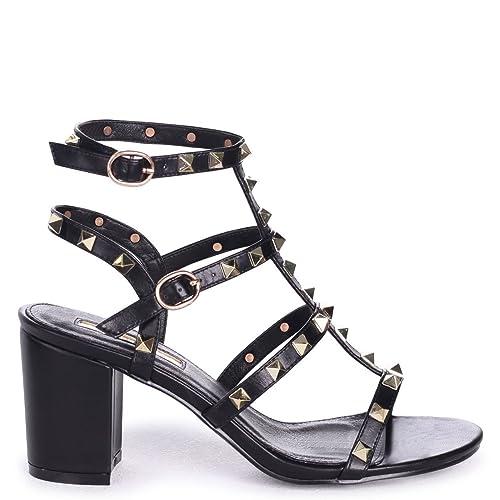 e385e091357 Linzi Tessa - Black Studded Block Heeled Sandal  Amazon.co.uk  Shoes   Bags