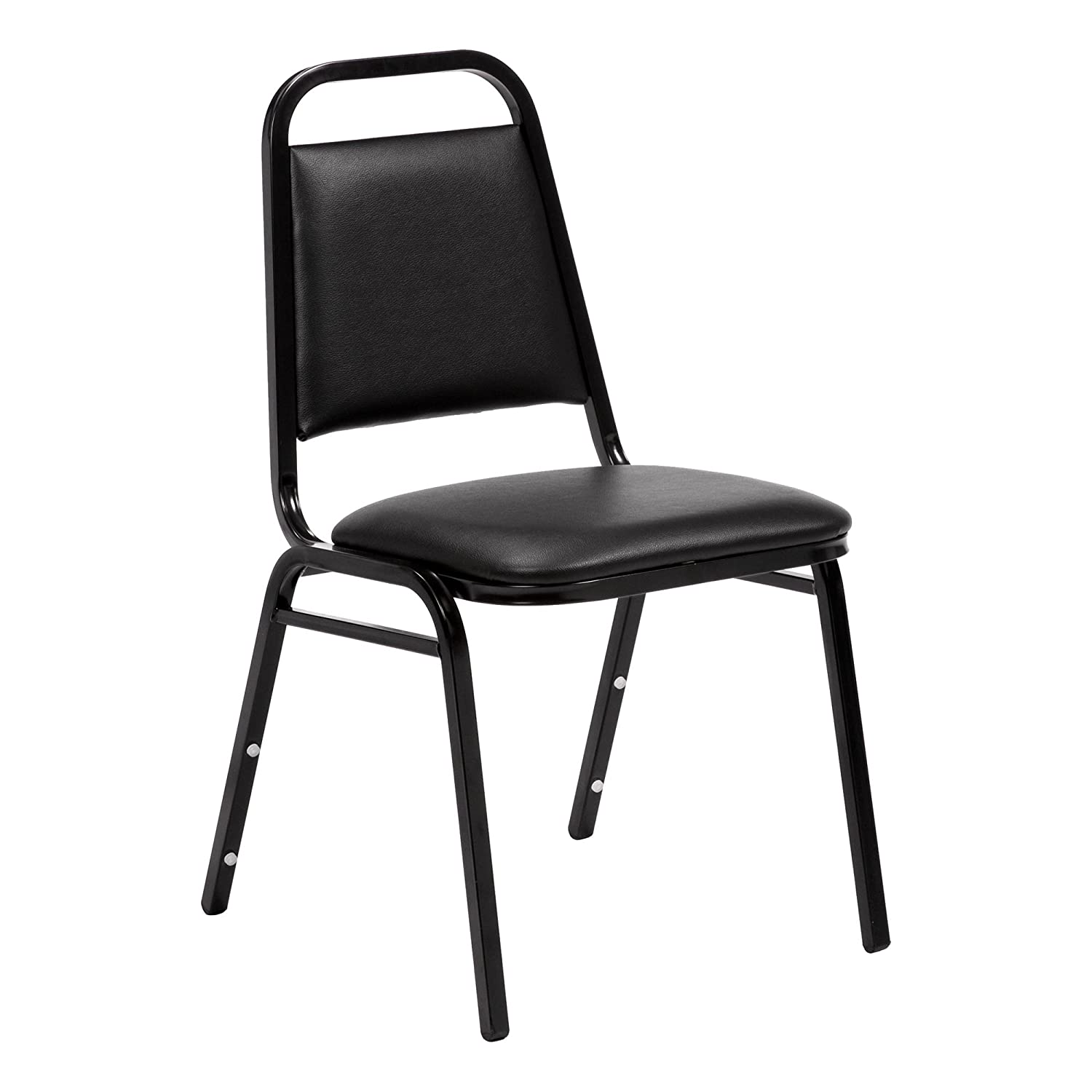 Norwood Commercial Furniture 150 Series Stack Chair, Black Vinyl, NCFSC1BLBLV (Pack of 4)