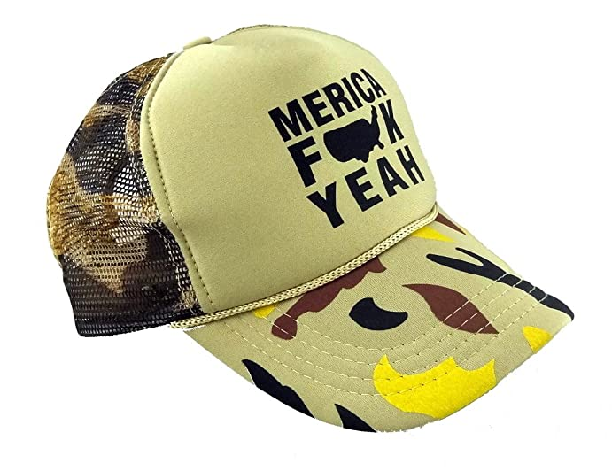 60816a4e Funny Guy Mugs Merica Fck Yeah Camo Trucker Hat - Adult - Unisex -  Adjustable