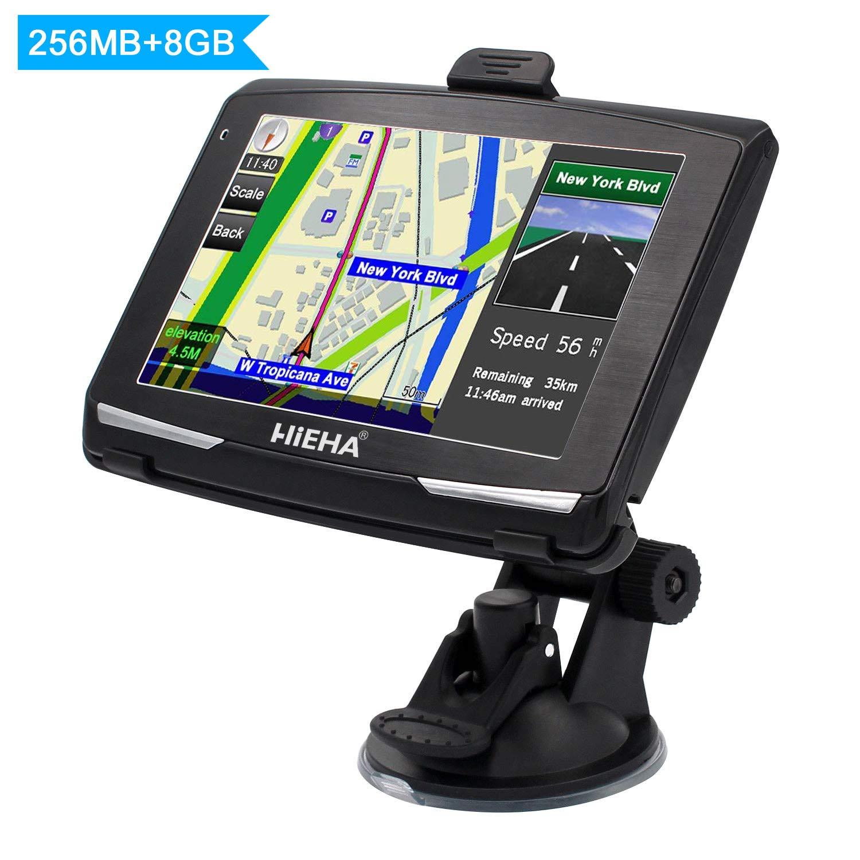 Hieha Appareil de Navigation /Écran HD Tactile Int/égrer Le Syst/ème des Instructions Vocales 5 GPS Automatique de Voiture Moto 8GB Multi-Languages