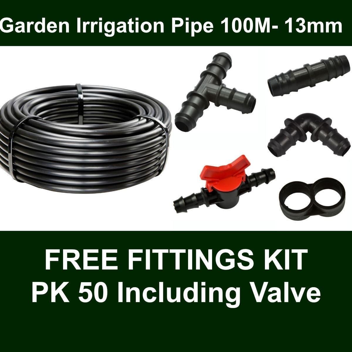 Hortafix Irrigation Black Pipe 13mm ID X 100m 50 Fittings