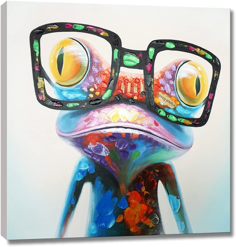 Seven Wall Arts Happy Frog With Glasses Painting Cute Animal Cartoon Pictures Oil Painting Hand Painted On Canvas Colorful Framed Artwork For Living Room Kids Room Decor 24 X 24