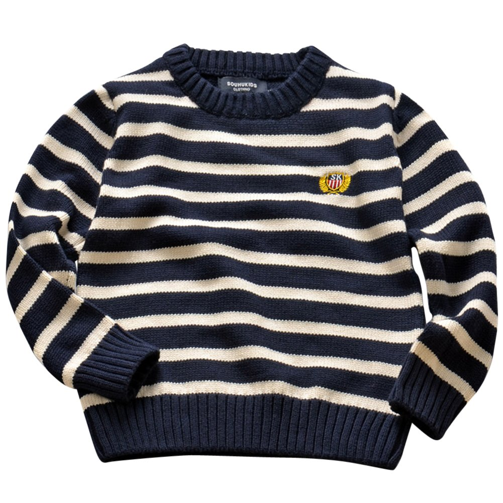 ZhuiKun Niñas Niños Infantes Jersey Suéter Cuello Redondo A Rayas Ropa de Punto