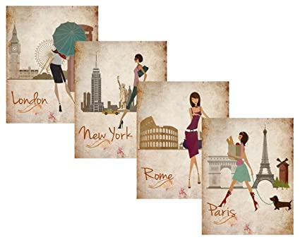 Amazoncom Paris London Roma And New York Set 8x10 Art Print